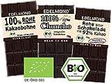 Edelmond Bio Bittere Schokolade - Kennenlern-Paket Mini ✓ Drei bitterste Schokoladen ✓ Für Puristen und extrem Genießer ✓ Vegan und Fair-Trade ✓ Ohne Soja Emulgatoren