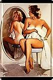 Sexy Pin Up Girl vor Spiegel Retro 20 x 30 cm Nostalgie Deko Blechschild 1422