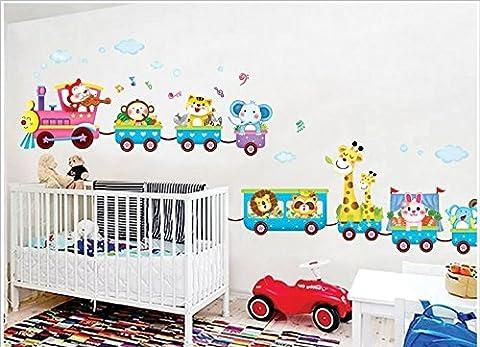 Rainbow Fox Die Tiere Kunst Eis-Zug-Wand-Aufkleber für die Dekoration Kinderzimmer,