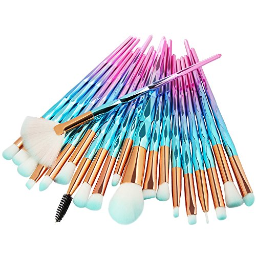 POachers Lot de 20 pinceaux de maquillage professionnels, pinceaux de maquillage synthétiques de qualité supérieure pour fond de teint, blush, correcteurs pour les yeux