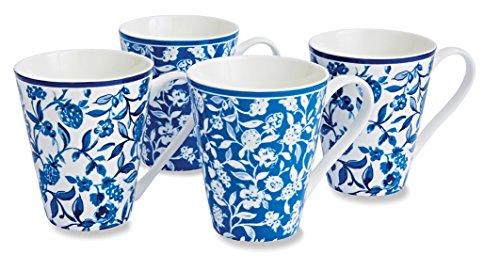 Cooksmart - Tazze in porcellana con motivo giardino segreto, cobalto,