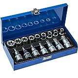 TecTake Steckschlüsselsatz Torx | Steckschlüssel mit Kodierung und Kugelfangrille| inkl. Koffer - verschiedene Modelle (Typ 6 | Nr. 402071)