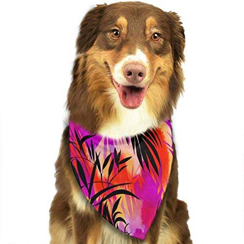 Rghkjlp Sunset Vine Floral Pattern Pet Bandana Triangle Dog Cat Neckerchief Bibs Scarfs Accessories for Pet Cats and Baby Puppies - Schwarze Fleece Bibs