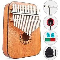 Vangoa 17 llaves Kalimba pulgar piano kit, bordes redondeados eléctrico Kalimba, madera de caoba portátil con martillo de afinación, bolsa de transporte, pastillas y pegatinas para llaves