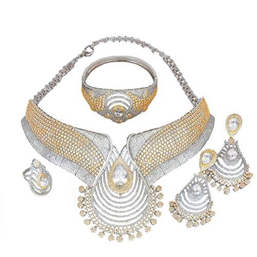 muck Set Ohrringe Kostüm Halskette Ringe Saudi-Äthiopische Frauen Braut Hochzeit Mädchen Nigerianisches Zirkon Dubai 18K vergoldet gefüllt Fashion African Indian Cubic Zirkonia Brautschmuck (Frauen Arrow Kostüm)