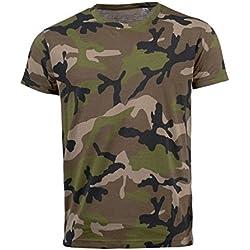 SOLS - Camiseta entallada/ajustada de manga corta para hombre - Modelo Camo (Pequeña (S)/Verde militar)