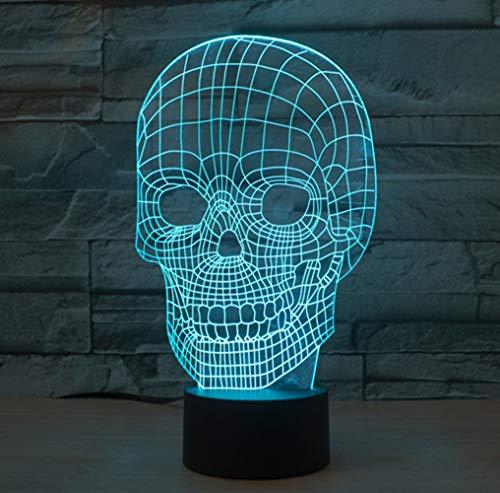 Scary Skull 3D Illusion Lampe Led Nachtlicht mit 7 Farben Flashing & Touch-Schalter USB Powered Schlafzimmer Schreibtischlampe für Kinder Geschenke Halloween Dekoration