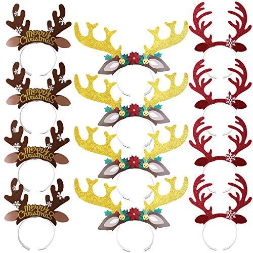 Amosfun simpatica corna di renna archetto per capelli con orecchie copricapo decorazione natalizia per feste in costume regalo di compleanno di natale, confezione da 12
