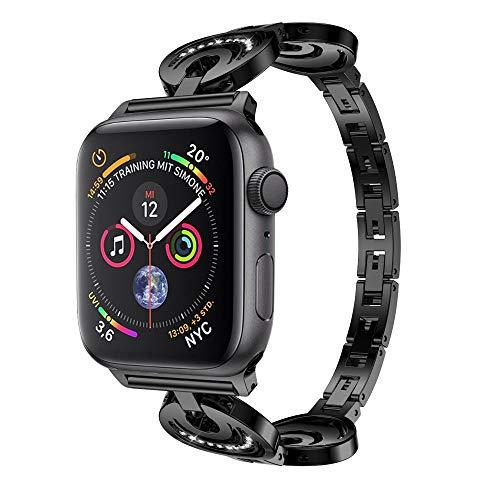 Preisvergleich Produktbild Apple Watch Armband,  12shage Strap 44mm Crystal Metal Band Uhrenarmband Schlaufe Watch Armbänder für Iwatch Series 4 (Schwarz)