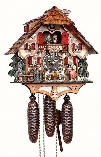 Orologio a cucù casetta tipo foresta nera con uomini che beveno birra e ruota del mulino in movimento