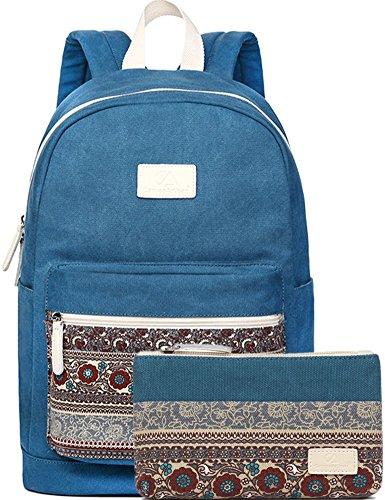 bloomstar-vintage-tela-zaino-scuola-borsa-da-viaggio-zaino-casual-zaino-blue-2pcs-medium