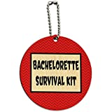 Bachelorette Survival Kit Chevrons Red Round Wood ID Tag Luggage Card Suitcase