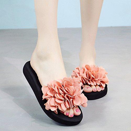 Estate Sandali Pantofole Handmade dei fiori Sandali sdrucciolevoli dell'estate femminili Sandali di usura casuali (multicolore multicolore facoltativo) Colore / formato facoltativo 3cm-Light pink