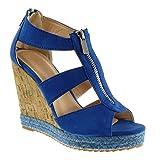 Angkorly Damen Schuhe Espadrilles Sandalen - Plateauschuhe - Seil - Kork - String Tanga Keilabsatz High Heel 11 cm - Blau 628-132 T 40