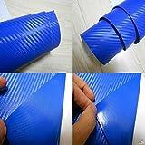 3D Bleu Fibre Carbone Texture Emballage Drap Vinyle Décalque Film - Bleu, 50cm x 1.52m