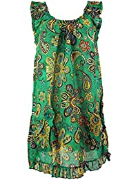 GURU-SHOP Blouse Top Hippie Chic, Maxitunika, Green, Cotton, Size:18, Blouses