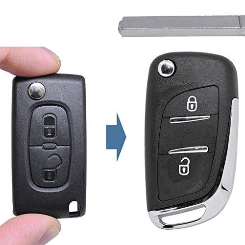 Klapp Schlüssel UMBAU Gehäuse Fernbedienung NEUES DESIGN 2 Tasten VA2 Rohling für Citroen / Peugeot / Fiat