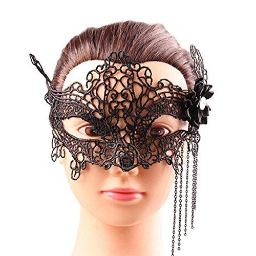 Xmansky Damen Spitze venezianischen Maskenspiel Karneval Party Ball Gesicht Augenmaske (One size, Schwarz)