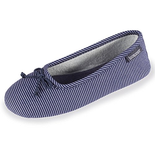 chaussons-ballerines-femme-rayures-isotoner-35-36