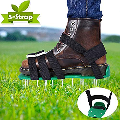 Aireador de Cesped Zapatos - ABREOME Escarificador Cesped Zapatos Jardín de Césped con 10 Correas Ajustables, para tu Césped, Jardín, Jardinería
