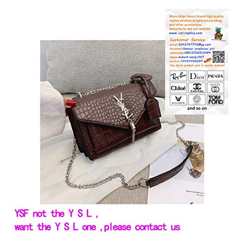 Fashion Crocodile Snake Pattern Leather Designer Party Crossbody Tote Bag Cultches for Women Purse- Brown Serpentine -