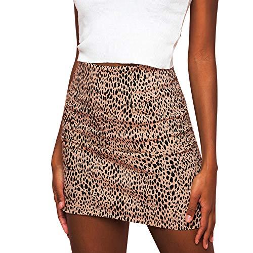 CICIYONER Damen Röcke Leopard-Minirock der Frauen Gedruckter Rock hohe Taille reizvoller Bleistift Bodycon Hüfte