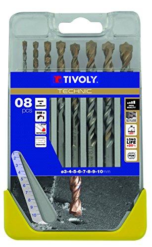 Tivoly B44 - Pack de 8 brocas para hormigón, gama alto rendimiento (diámetro de 3, 4, 5, 6, 7, 8, 9, 10 mm)