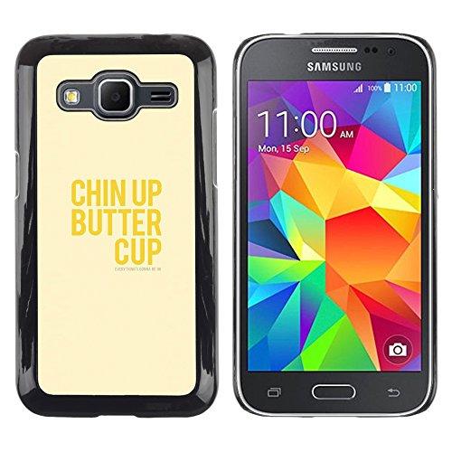 DEMAND-GO Handy Durabel Hart Schutz Hülle Einzig Bild Schale Cover Etui Case Für Samsung Galaxy Core Prime SM-G360 - optimistisch glücklich positive gelben Text