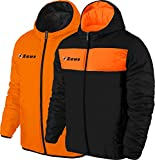 Zeus Herren Jacke Kapuze Double Face WinterJacke WindJacke Running Fußball Laufen Training Sport GIUBBOTTO APOLLO SCHWARZ ORANGE (M)