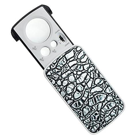 Renge Loupe de poche avec LED–30x 60x 90x Multi-power Petite Loupe Portable avec lumière UV Meilleur pour bijoux, diamants, strass, pièces de monnaie, Tampons Rocks Silver