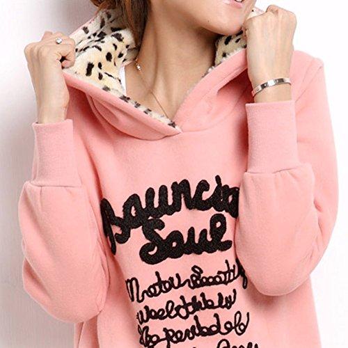 ROPALIA Femmes Sweatshirt à capuche longue Hiver Sweater Hoodies M-XXL Rose