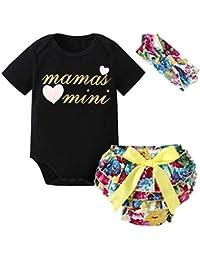 Brightup Romper + Bloomers + Diadema, Bebé niñas Romper + Pantalones cortos + Banda para
