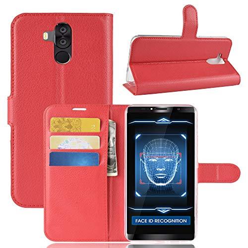 SHIEID Oukitel K6 Hülle Brieftasche Hülle Kunstleder Handyfall Handyfall Für Oukitel K6(Rot)