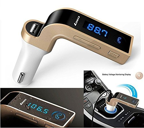 SHOPZIE LCD Bluetooth Car Charger FM Kit MP3 Transmitter USB and TF Card Slot with in Built Mic Hands-free Calling for All Android and iOS Devices (Colour May Vary)