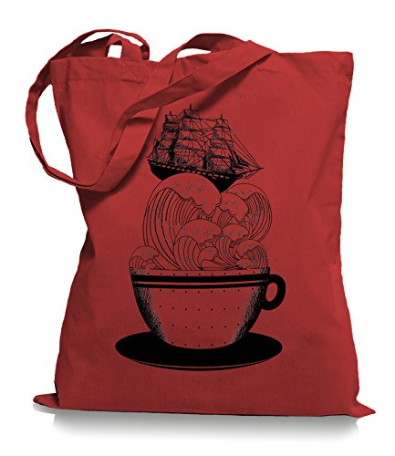 Ma2ca® Cup of Ship - Schiff Jutebeutel Stoffbeutel Tragetasche / Bag WM101 Classic Red