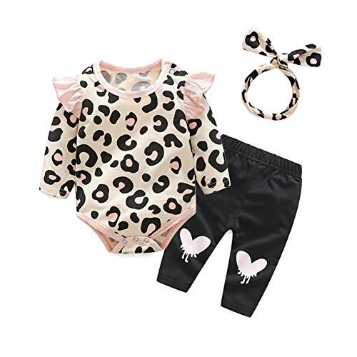 Hongyuangl 3 Stück Baby Mädchen Leopard Druck Strampler Langarm Tops + Hosen + Stirnband Outfits Set - Leoparden-strampler