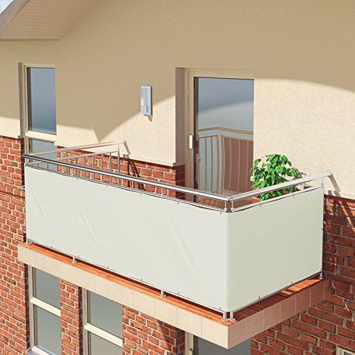 BALCONIO Balkon Sichtschutz wasserabweisend Balkonbespannung Balkonabdeckung für Balkon Terrasse aus Polyester - 450 x 85 cm - Weiss