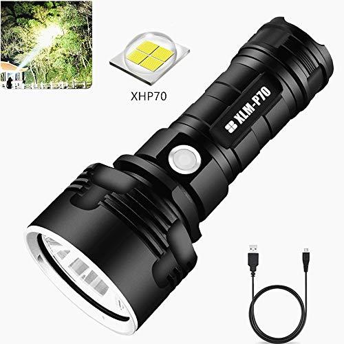 Torcia LED Ricaricabili, XHP70 5000 Lumen Ultra Luminoso Torcia 3 Modalità Impermeabile Torcia con display di potenza per campeggio, pesca(la batteria non include)