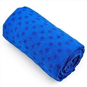 TOOGOO(R) Vogue Yoga Serviette Mat Couverture Antiderapante Avec Silicone Plate Points & Maille Sac de Transport (Bleu)