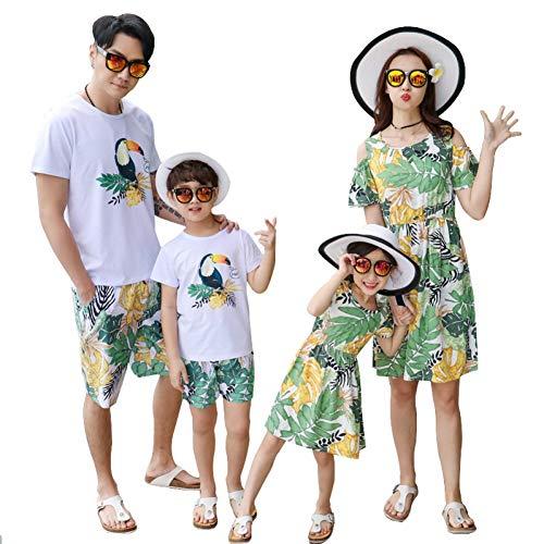 DAHDXD Familie passende Outfits Mutter Tochter Strand Berufung verlässt Vögel Kleider Sommer Papa Sohn T-Shirt + Hosen Kinder Kleidung