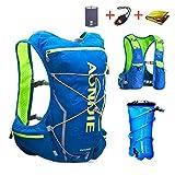 TRIWONDER Trinkrucksack Rucksack 10L Deluxe Laufrennen Trinkweste Outdoor Mochilas für Marathon Laufen Radfahren Wandern (Blau & Grün - mit 2L Wasserblase, M-L)