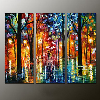 "Preisvergleich Produktbild XHL Art Hand-Painted Abstract / Abstract Landscape 100% Hang-Painted Oil Painting,Modern Three Panels Canvas Oil Painting For Home Decoration , 12"" x 36"""