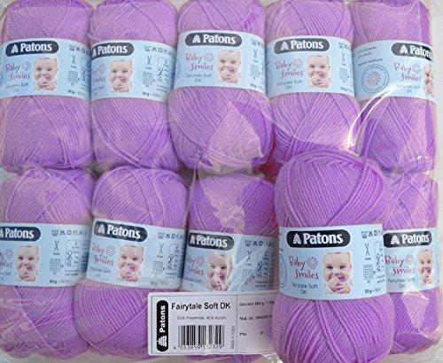 500g Wollpaket, 10x50g Schachenmayr Patons Baby Smiles Fairytale soft dk Fb. 01047 Babywolle flieder zum Stricken und Häkeln, Wollpakete Sonderposten