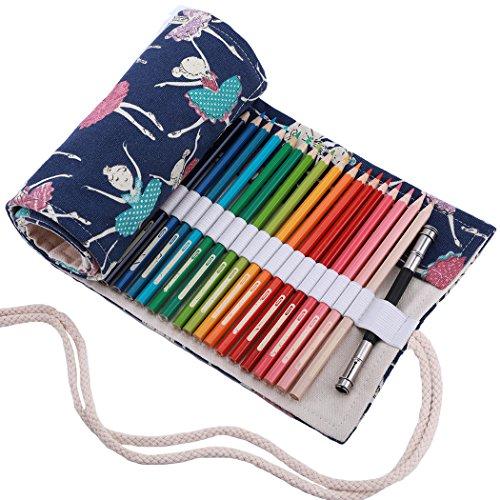 Amoyie Leinwand Stifterolle für 36 Buntstifte, Hand Roll-up Mäppchen (Keine Schreibzeuge im Lieferumfang) - Balett Mädchen