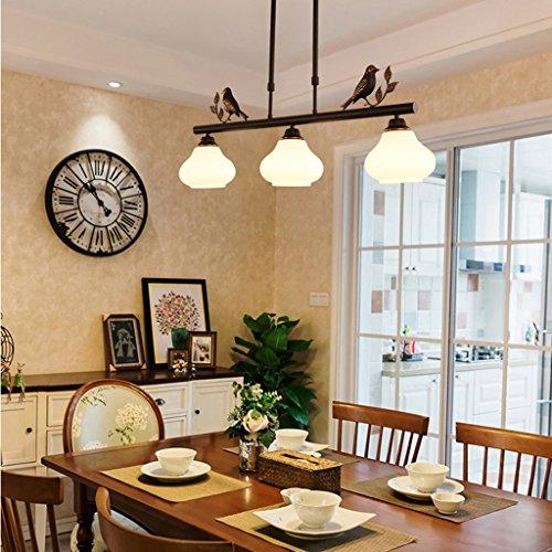 $illuminazione lampadari in stile country, lampada a sospensione a tre teste, lampada da balcone con portico per sala da pranzo luci interne (dimensioni : 76 * 16 * 29cm)