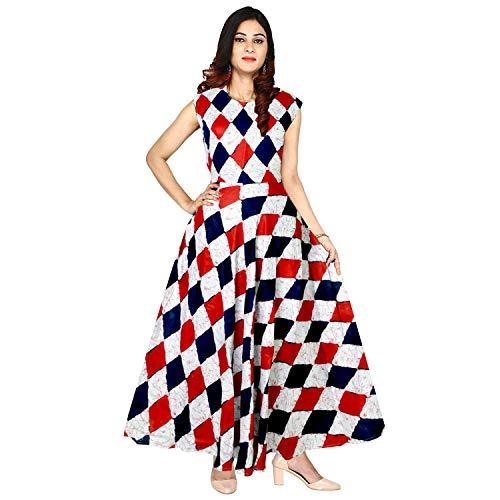 Mudrika Women\'s One Piece Jaipuri Print Rayon Long Dress - Free Size Designer Rayon Women\'s Maxi Long Dress