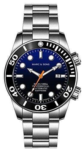 Marc & Sons 1000m automatico Diver orologio blu, vetro zaffiro, Elio...