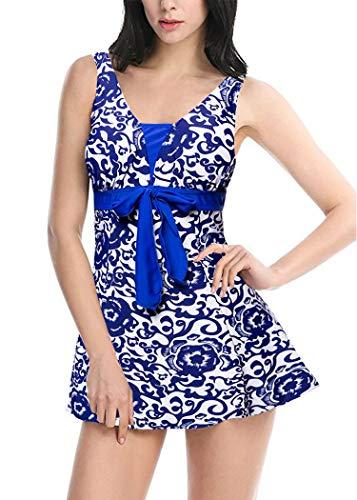 AOQUSSQOA Damen Einteiliger Badeanzug Figurformender Bademode Push up Bauchweg Badeanzüge für Frauen Sexy Hohe Taille Tankini Set mit Röckchen (EU 38-40 (L), Königsblau)