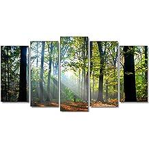 DekoArte - Cuadro moderno en lienzo paisaje bosque 150x80cm