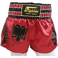 4Fighter Muay Thai Shorts National Shqipëri Albanien im Design der roten Nationalflagge